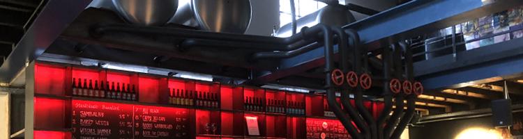 banner Muziekinstallatie in bierbrouwerij Stanislaus Brewskovitch