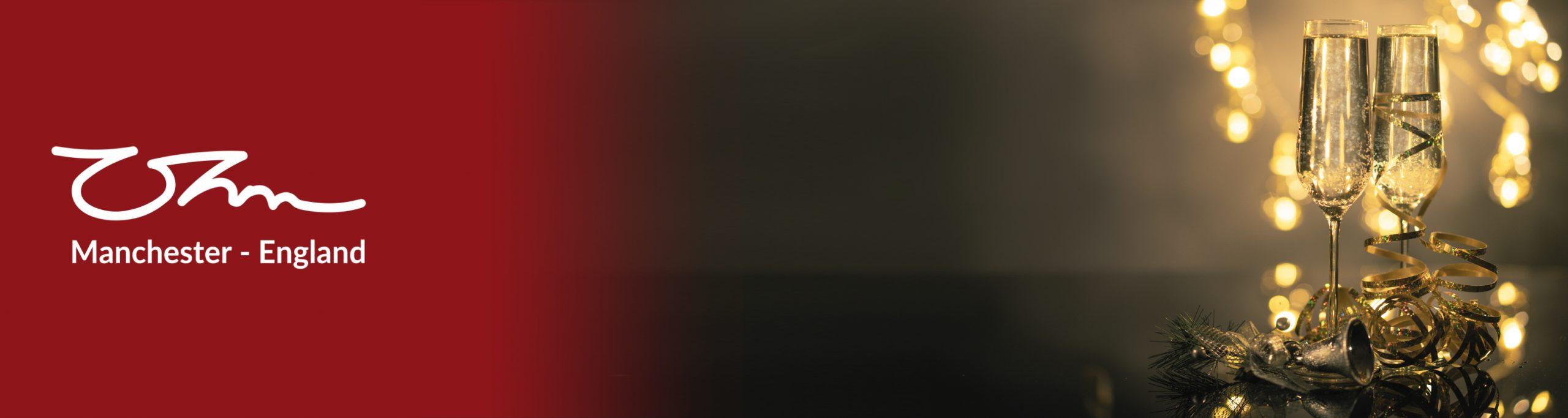 Kerstborrel - TRS serie OHM biedt een geweldige sfeer banner +logo